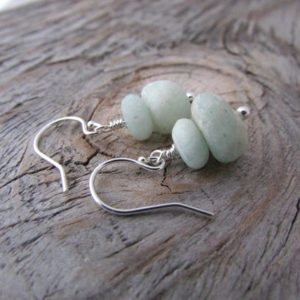 Shop Amazonite Earrings! Amazonite earrings, tumbled stones, sky blue stone dangles, matte polished, beach earrings, natural look | Natural genuine Amazonite earrings. Buy crystal jewelry, handmade handcrafted artisan jewelry for women.  Unique handmade gift ideas. #jewelry #beadedearrings #beadedjewelry #gift #shopping #handmadejewelry #fashion #style #product #earrings #affiliate #ad