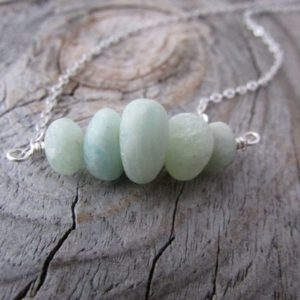 Shop Amazonite Necklaces! Amazonite Necklace, matte finish, smooth tumbled stones, sky blue gemstone necklace | Natural genuine Amazonite necklaces. Buy crystal jewelry, handmade handcrafted artisan jewelry for women.  Unique handmade gift ideas. #jewelry #beadednecklaces #beadedjewelry #gift #shopping #handmadejewelry #fashion #style #product #necklaces #affiliate #ad