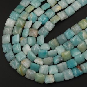 "Shop Amazonite Bead Shapes! Natural Blue Amazonite Square Cushion Beads 12mm 14mm 15.5"" Strand 
