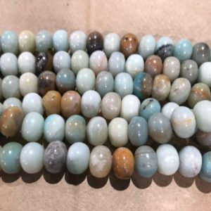 Shop Amazonite Rondelle Beads! Amazonite 8x5mm 10x6mm 12x8mm rondelle gemstone beads –15.5  inch gemmstone Bead | Natural genuine rondelle Amazonite beads for beading and jewelry making.  #jewelry #beads #beadedjewelry #diyjewelry #jewelrymaking #beadstore #beading #affiliate #ad