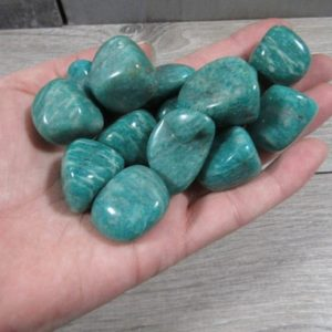 Shop Tumbled Amazonite Crystals & Pocket Stones! Amazonite Large Tumbled Stone T167 | Natural genuine stones & crystals in various shapes & sizes. Buy raw cut, tumbled, or polished gemstones for making jewelry or crystal healing energy vibration raising reiki stones. #crystals #gemstones #crystalhealing #crystalsandgemstones #energyhealing #affiliate #ad