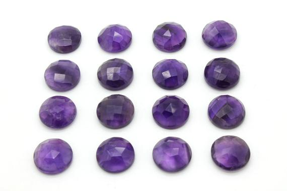 Aa Amethyst Faceted Round Cabochon,round Gemstone,gemstone Cabochon,faceted Gemstone,purple Gemstone,birthstones - 1 Stone