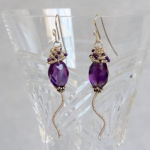 Shop Sugilite Jewelry! Amethyst Nugget Sugilite Dangle Earrings, Sterling Silver Wire Wrap Coil, Handmade Gem Bead Jewelry, February Stone, Shoulder Duster Chunky | Natural genuine Sugilite jewelry. Buy crystal jewelry, handmade handcrafted artisan jewelry for women.  Unique handmade gift ideas. #jewelry #beadedjewelry #beadedjewelry #gift #shopping #handmadejewelry #fashion #style #product #jewelry #affiliate #ad
