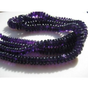 Shop Amethyst Rondelle Beads! Amethyst Spacer Beads – 8 Inches – Genuine Amethyst German Cut Rondelles or Disc Beads Size 10mm To 7mm approx | Natural genuine rondelle Amethyst beads for beading and jewelry making.  #jewelry #beads #beadedjewelry #diyjewelry #jewelrymaking #beadstore #beading #affiliate #ad