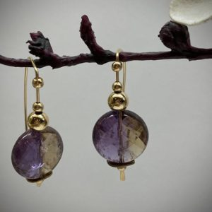 Shop Ametrine Earrings! Ametrine earrings. Ametrine and gold filled earrings. Gold filled beads.  Half round ear wires.  Marquis ear wires. Paddle ear wires | Natural genuine Ametrine earrings. Buy crystal jewelry, handmade handcrafted artisan jewelry for women.  Unique handmade gift ideas. #jewelry #beadedearrings #beadedjewelry #gift #shopping #handmadejewelry #fashion #style #product #earrings #affiliate #ad