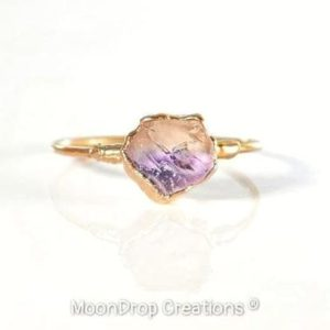 Raw Ametrine ring, Raw stone ring, Amethyst Citrine ring, Raw stone Promise ring, Alternative engagement ring, Boho ring, Mothers Day gift | Natural genuine Gemstone rings, simple unique alternative gemstone engagement rings. #rings #jewelry #bridal #wedding #jewelryaccessories #engagementrings #weddingideas #affiliate #ad