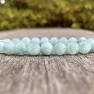 Shop Angelite Bracelets! Green Angelite Beaded Bracelet 8mm Anhydrite Beaded Gemstone Bracelet Stack Bracelet Gift Bracelet Healing Bracelet Protection Bracelet | Natural genuine Angelite bracelets. Buy crystal jewelry, handmade handcrafted artisan jewelry for women.  Unique handmade gift ideas. #jewelry #beadedbracelets #beadedjewelry #gift #shopping #handmadejewelry #fashion #style #product #bracelets #affiliate #ad