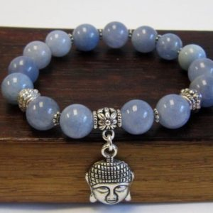 Shop Angelite Bracelets! Angelite Bracelet Healing Chakra Bracelet Yoga Meditation Angelite Bracelet Angelite Aquarius Bracelet Throat Chakra Yoga Angelite Bracelet | Natural genuine Angelite bracelets. Buy crystal jewelry, handmade handcrafted artisan jewelry for women.  Unique handmade gift ideas. #jewelry #beadedbracelets #beadedjewelry #gift #shopping #handmadejewelry #fashion #style #product #bracelets #affiliate #ad
