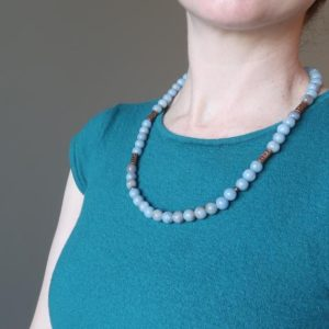 Shop Angelite Necklaces! Angelite Necklace Antiqued Copper Blue Gemstone Beaded Calming Crystal | Natural genuine Angelite necklaces. Buy crystal jewelry, handmade handcrafted artisan jewelry for women.  Unique handmade gift ideas. #jewelry #beadednecklaces #beadedjewelry #gift #shopping #handmadejewelry #fashion #style #product #necklaces #affiliate #ad