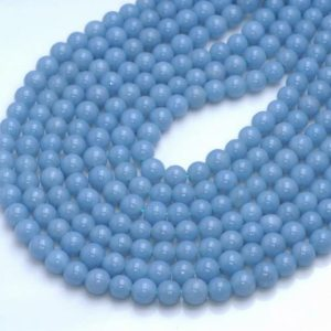 6mm 100% Genuine Angelite Gemstone Grade AAA High Quality Deep Blue Smooth Round Loose Beads 15.5 inch Full Strand (80005114-458) | Natural genuine beads Array beads for beading and jewelry making.  #jewelry #beads #beadedjewelry #diyjewelry #jewelrymaking #beadstore #beading #affiliate #ad