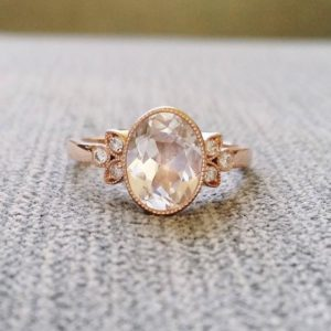 "Antique Diamond White Sapphire Engagement Ring Rose Gold Victorian Bezel Set Low Profile Filigree Gemstone PenelliBelle ""The Luella"" 