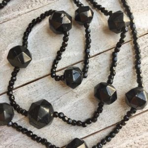 Antique Victorian Whitby Jet Beads Black Vintage 1860s 1890s Faceted Bead Mourning Necklace Collectible Natural Gemstones | Natural genuine Jet necklaces. Buy crystal jewelry, handmade handcrafted artisan jewelry for women.  Unique handmade gift ideas. #jewelry #beadednecklaces #beadedjewelry #gift #shopping #handmadejewelry #fashion #style #product #necklaces #affiliate #ad