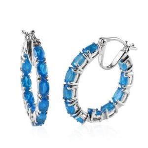 Shop Apatite Earrings! 5.30 ctw  Rare Magache Neon Apatite Inside Out Hoop Earrings in Platinum Over Sterling Silver Gift For Her | Natural genuine Apatite earrings. Buy crystal jewelry, handmade handcrafted artisan jewelry for women.  Unique handmade gift ideas. #jewelry #beadedearrings #beadedjewelry #gift #shopping #handmadejewelry #fashion #style #product #earrings #affiliate #ad