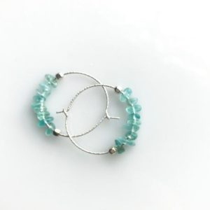 Blue Apatite Earrings, Raw Crystal Earrings, Positive inspiration, Positive Energy | Natural genuine Gemstone earrings. Buy crystal jewelry, handmade handcrafted artisan jewelry for women.  Unique handmade gift ideas. #jewelry #beadedearrings #beadedjewelry #gift #shopping #handmadejewelry #fashion #style #product #earrings #affiliate #ad