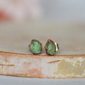 Green Apatite Earrings, Raw Stone Earrings, Electroformed Studs, Gemstone Studs, Gift For Her, Crystal Earrings, Apatite Jewelry, Boho Studs | Natural genuine Gemstone earrings. Buy crystal jewelry, handmade handcrafted artisan jewelry for women.  Unique handmade gift ideas. #jewelry #beadedearrings #beadedjewelry #gift #shopping #handmadejewelry #fashion #style #product #earrings #affiliate #ad