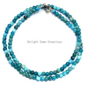 Shop Apatite Necklaces! Blue Apatite Beaded Necklace,4mm Apatite Smooth Round Beads Necklace,Gemstone Necklace,18 Inches Apatite Beads Necklace,Gift For Best Friend | Natural genuine Apatite necklaces. Buy crystal jewelry, handmade handcrafted artisan jewelry for women.  Unique handmade gift ideas. #jewelry #beadednecklaces #beadedjewelry #gift #shopping #handmadejewelry #fashion #style #product #necklaces #affiliate #ad