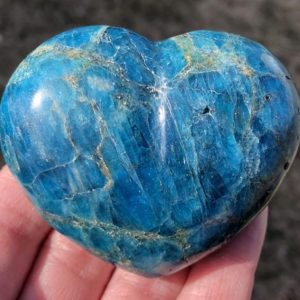 "Shop Apatite Shapes! 2.6"" Blue Apatite Heart  Bright Blue Crystal Heart  Gemstone Heart #4 