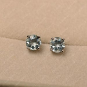 Shop Aquamarine Earrings! Aquamarine earrings studs, round cut, solitaire earrings, sterling silver | Natural genuine Aquamarine earrings. Buy crystal jewelry, handmade handcrafted artisan jewelry for women.  Unique handmade gift ideas. #jewelry #beadedearrings #beadedjewelry #gift #shopping #handmadejewelry #fashion #style #product #earrings #affiliate #ad