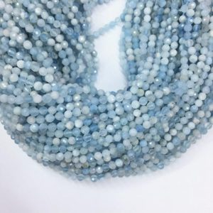 Tiny Aquamarine Micro Faceted Beads 2mm 3mm 4mm Natural Aquamarine Spacer Beads Small Light Blue Beads Blue Tiny Gemstone Semi Precious | Natural genuine faceted Aquamarine beads for beading and jewelry making.  #jewelry #beads #beadedjewelry #diyjewelry #jewelrymaking #beadstore #beading #affiliate #ad