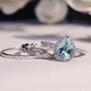 Shop Aquamarine Jewelry! Natural Aquamarine Ring Set Aquamarine Engagement Ring Set with Fabulous Aquamarine Stone Wedding Ring Set  Anniversary Ring Promise Ring | Natural genuine Aquamarine jewelry. Buy handcrafted artisan wedding jewelry.  Unique handmade bridal jewelry gift ideas. #jewelry #beadedjewelry #gift #crystaljewelry #shopping #handmadejewelry #wedding #bridal #jewelry #affiliate #ad