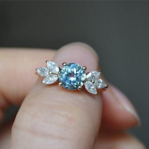 Natural Aquamarine Ring Solid 14K Gold Aquamarine Engagement Ring Wedding Ring Anniversary Ring Promise Ring Gift Fine Jewelry | Natural genuine Array rings, simple unique alternative gemstone engagement rings. #rings #jewelry #bridal #wedding #jewelryaccessories #engagementrings #weddingideas #affiliate #ad