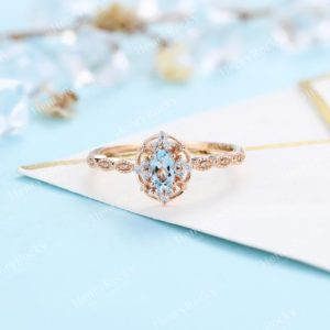 Vintage Aquamarine Engagement Ring Rose Gold wedding Ring | Antique Oval cut Bridal ring | Art deco Halo Ring Milgrain | Anniversary ring | Natural genuine Aquamarine rings, simple unique alternative gemstone engagement rings. #rings #jewelry #bridal #wedding #jewelryaccessories #engagementrings #weddingideas #affiliate #ad