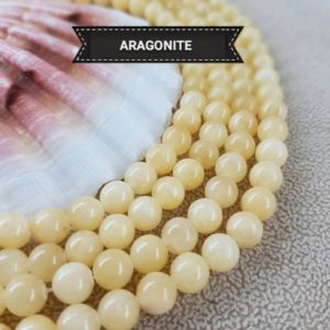 ARAGONITE pearl 6 or 8mm set, very rare smooth round bead in genuine semi precious natural stone | Natural genuine beads Aragonite beads for beading and jewelry making.  #jewelry #beads #beadedjewelry #diyjewelry #jewelrymaking #beadstore #beading #affiliate #ad