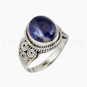 Shop Sodalite Rings! Artisan Sodalite Ring, Oval Gemstone, 925 Sterling Silver, Wide Band Ring, Statement Ring, Women's Jewelry, Christmas Sale, Dainty Ring   Natural genuine Sodalite rings, simple unique handcrafted gemstone rings. #rings #jewelry #shopping #gift #handmade #fashion #style #affiliate #ad
