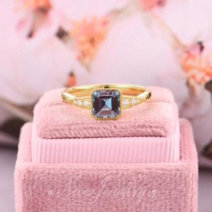 Asscher Cut 6x6mm Alexandrite Ring, Color Changing Gemstone Ring, Yellow Gold Wedding Engagement Ring, Anniversary Ring, Unique Gift For Her | Natural genuine Gemstone rings, simple unique alternative gemstone engagement rings. #rings #jewelry #bridal #wedding #jewelryaccessories #engagementrings #weddingideas #affiliate #ad