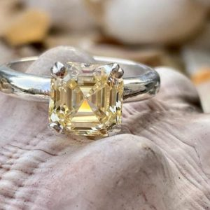 Asscher Cut Engagement Ring, Canary Yellow Asscher Cut Diamond Ring, Asscher Cut Solitaire Ring, Asscher Cut Ring, Yellow Asscher Cut | Natural genuine Gemstone rings, simple unique alternative gemstone engagement rings. #rings #jewelry #bridal #wedding #jewelryaccessories #engagementrings #weddingideas #affiliate #ad