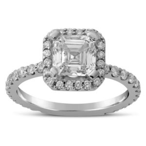 Asscher Cut Engagement Ring with Halo And Round Cut Side Diamonds A29 | Natural genuine Gemstone rings, simple unique alternative gemstone engagement rings. #rings #jewelry #bridal #wedding #jewelryaccessories #engagementrings #weddingideas #affiliate #ad