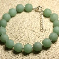 Bracelet 925 Sterling Silver And Gemstone – Aventurine Green Matte 10 Mm | Natural genuine Gemstone jewelry. Buy crystal jewelry, handmade handcrafted artisan jewelry for women.  Unique handmade gift ideas. #jewelry #beadedjewelry #beadedjewelry #gift #shopping #handmadejewelry #fashion #style #product #jewelry #affiliate #ad