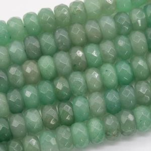 Shop Aventurine Faceted Beads! Genuine Natural Parsley Bunch Aventurine Loose Beads Faceted Rondelle Shape 10x6MM | Natural genuine faceted Aventurine beads for beading and jewelry making.  #jewelry #beads #beadedjewelry #diyjewelry #jewelrymaking #beadstore #beading #affiliate #ad