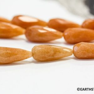 Shop Aventurine Faceted Beads! M/ Red Aventurine 9x22mm/ 8x12mm Faceted Teardrop Loose Beads. Length 15.5 inches long  Orange shade varies. Matching pairs | Natural genuine faceted Aventurine beads for beading and jewelry making.  #jewelry #beads #beadedjewelry #diyjewelry #jewelrymaking #beadstore #beading #affiliate #ad