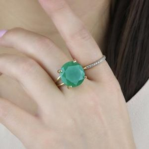 Shop Aventurine Rings! Natural Green Aventurine Ring · Round Cocktail Ring · Gold Ring For Women · Gemstone Ring · Vintage Ring · Bright Green Stone Ring | Natural genuine Aventurine rings, simple unique handcrafted gemstone rings. #rings #jewelry #shopping #gift #handmade #fashion #style #affiliate #ad