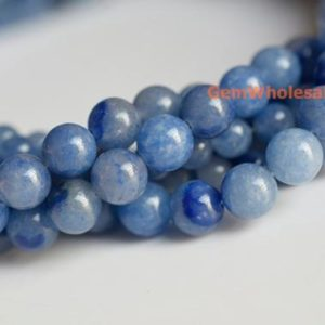 "Shop Aventurine Beads! 15.5"" 8mm/10mm Natural blue aventurine round beads, blue gemstone, semi-precious stone, natural blue jewelry beads 