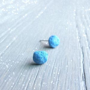 Azurite Crystals, Blue Dot Stud Earrings, Wedding Day, Rough Crystal Stud Earrings, Something Blue, Blue Christmas Gift For Women | Natural genuine Azurite earrings. Buy handcrafted artisan wedding jewelry.  Unique handmade bridal jewelry gift ideas. #jewelry #beadedearrings #gift #crystaljewelry #shopping #handmadejewelry #wedding #bridal #earrings #affiliate #ad