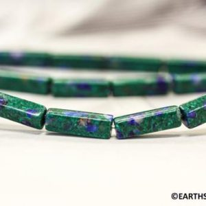 Shop Azurite Beads! S/ Azurite Malachite 4x13mm Rectangle beads. 16 Inches long Everlasting dangling for earrings design | Natural genuine beads Azurite beads for beading and jewelry making.  #jewelry #beads #beadedjewelry #diyjewelry #jewelrymaking #beadstore #beading #affiliate #ad