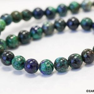 """Shop Azurite Round Beads! M/ Azurite Malachite 8mm Smooth Round beads 16"""" strand Routinely enhanced blue/green beads for jewelry making 