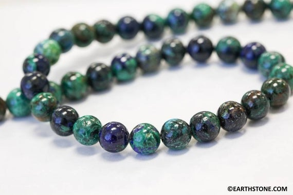 """M/ Azurite Malachite 8mm Smooth Round Beads 16"""" Strand Routinely Enhanced Blue/green Beads For Jewelry Making"""