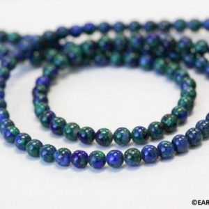 """Shop Azurite Round Beads! S/ Azurite Malachite 4mm/ 5mm Smooth Round beads 16"""" strand Green and blue mixed beads for jewelry making 