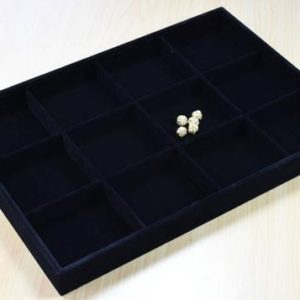 """Shop Bead Boards & Trays! Beads Organizer Tray Black Velvet Display Size 14""""x9.5""""x1.25"""", 12 Compartments for Beads or Chain or Coins Display, Item# 160001802833 