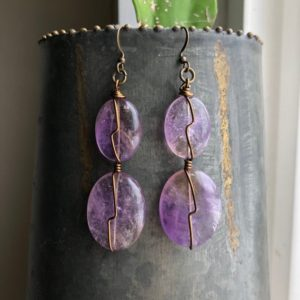 Shop Ametrine Earrings! Beautiful Large Ametrine Earrings | Natural genuine Ametrine earrings. Buy crystal jewelry, handmade handcrafted artisan jewelry for women.  Unique handmade gift ideas. #jewelry #beadedearrings #beadedjewelry #gift #shopping #handmadejewelry #fashion #style #product #earrings #affiliate #ad