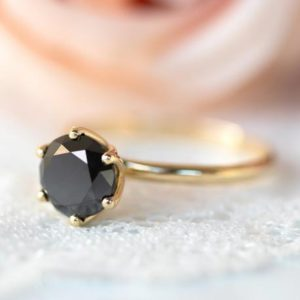 Black Engagement Ring, Solitaire Black Diamond Ring, Flower Ring, Unique Engagement Ring, Solitaire Ring, Diamond Gold Ring | Natural genuine Array rings, simple unique alternative gemstone engagement rings. #rings #jewelry #bridal #wedding #jewelryaccessories #engagementrings #weddingideas #affiliate #ad