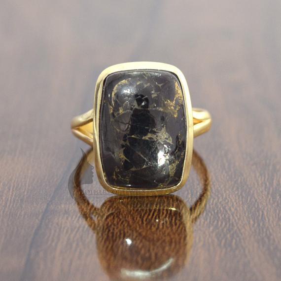 Black Gemstone Ring, Shungite Carbon Copper Gemstone Ring, Shungite Stone Ring, Sterling Silver Cushion Ring, Handmade Shungite Ring For Her