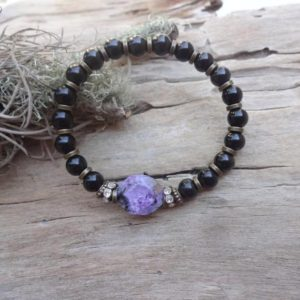Black Jet Stone and Charoite bracelet /Petrified wood Lignite Gagat Healing bracelets | Natural genuine Jet bracelets. Buy crystal jewelry, handmade handcrafted artisan jewelry for women.  Unique handmade gift ideas. #jewelry #beadedbracelets #beadedjewelry #gift #shopping #handmadejewelry #fashion #style #product #bracelets #affiliate #ad