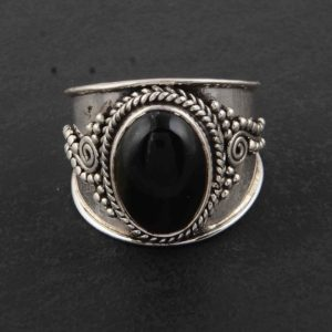 Shop Obsidian Rings! Black Obsidian ring set in Sterling Silver 925, Handmade Ring, Statement Ring, Birthstone Ring, Fashion Ring, Natural Oval black obsidian. | Natural genuine Obsidian rings, simple unique handcrafted gemstone rings. #rings #jewelry #shopping #gift #handmade #fashion #style #affiliate #ad