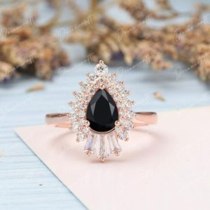 Black Onyx Engagement Ring Pear Vintage Solid Gold Wedding Ring Baguette Diamond Unique Art Deco Ring Bridal Promise Ring Anniversary | Natural genuine Array rings, simple unique alternative gemstone engagement rings. #rings #jewelry #bridal #wedding #jewelryaccessories #engagementrings #weddingideas #affiliate #ad