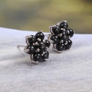 Shop Diopside Earrings! Black Star Sapphire Earrings,Flower Earrings Studs,Black Star Diopside Earrings,Cluster Statement Earrings,Boho Earrings,925 Sterling Silver | Natural genuine Diopside earrings. Buy crystal jewelry, handmade handcrafted artisan jewelry for women.  Unique handmade gift ideas. #jewelry #beadedearrings #beadedjewelry #gift #shopping #handmadejewelry #fashion #style #product #earrings #affiliate #ad