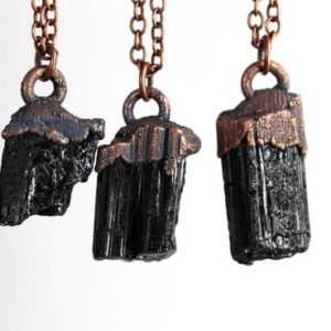 Shop Black Tourmaline Necklaces! Black Tourmaline Necklace – Electroformed Copper Pendant – Crystal Layering Necklace | Natural genuine Black Tourmaline necklaces. Buy crystal jewelry, handmade handcrafted artisan jewelry for women.  Unique handmade gift ideas. #jewelry #beadednecklaces #beadedjewelry #gift #shopping #handmadejewelry #fashion #style #product #necklaces #affiliate #ad